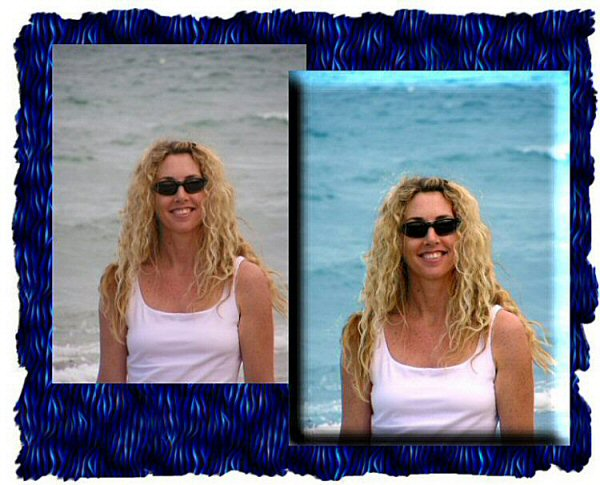 Photo Restoration.  Clarify Photo - Janelle at Dog Beach - Photo Restoration by SmileDogProductions.com